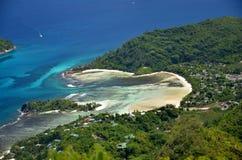 Aerial beach seychelles Stock Photos