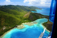 Aerial Beach View. Tropical, Ocean View, Blue skies Royalty Free Stock Photography
