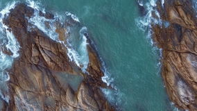 Aerial beach wave on tropical sea stock video