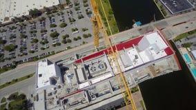 Aerial Beachwalk Hallandale construction stock video