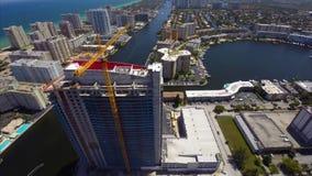 Aerial Beachwalk Hallandale construction stock footage