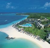 Aerial of Beau-Rivage Hotel on Mauritius Island stock images
