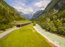 Beautiful Green Mountain Valley Landscape At Summer. Aerial: Beautiful Mountain Valley Landscape With Tunnel And River View At Summer Royalty Free Stock Images