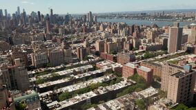 Aerial: beautiful New York City buildings at sunny summer day
