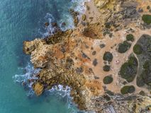 Aerial beautiful rocks and cliffs seascape shore view. Near Albufeira, Algarve, Portugal Royalty Free Stock Photography