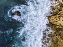 Aerial beautiful rocks and cliffs seascape shore view near Albuf. Eira, Algarve, Portugal Stock Images