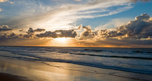 Aerial from a beautiful sunset at Vale Figueiras beach in Portug Stock Photos