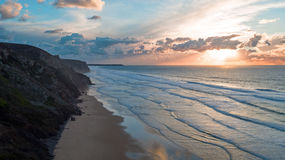 Aerial from a beautiful sunset at Vale Figueiras beach in Portug Stock Photography