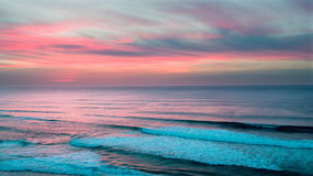 Aerial from a beautiful sunset at Vale Figueiras beach in Portug Stock Photo