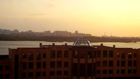 Aerial beautiful sunset view on Novosibirsk city and bridge. 3840x2160 stock video footage
