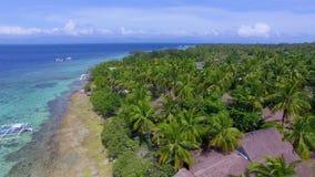 Aerial: Beautiful Tropical Beach Resort In Moalboal, Cebu From Above. Drone Shot Of Beautiful Tropical Beach Resort In Moalboal, Cebu At Summer stock video