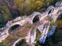 Free Aerial Beautiful View Of The Kursunlugerme Aqueduct Bridge Near Gumuspinar Village, Catalca, Istanbul Stock Photography - 179221282
