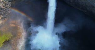 Aerial of beautiful waterfall and rainbow 4k