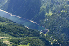 Aerial of Belviso dam and lake, Orobie Royalty Free Stock Photography