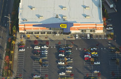 Aerial Best Buy Store. View from the air of Best Buy and parking lot Stock Image