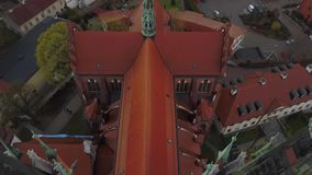 Aerial of Bialystok old town and cathedral in Poland