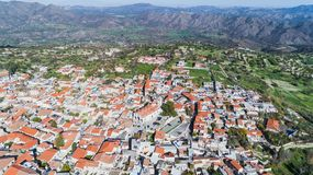 Aerial Pano Lefkara, Larnaca, Cyprus Royalty Free Stock Photos