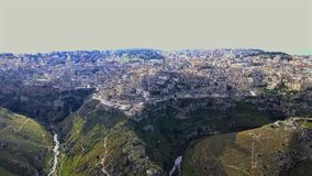 Aerial bird eye view of matera stock video footage