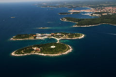Aerial bird eye view of Rovinj archipelago,Croatia Stock Photos