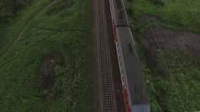 Aerial bird eye view of two railway different direction and moving trains, Russia stock video