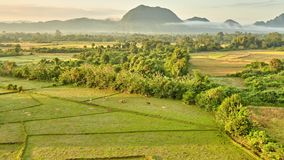 Aerial rural mountain valley sunrise view stock video