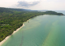 Aerial bird`s eye view of emerald green placid sea and the Gulf of Thailand`s coast Royalty Free Stock Photography