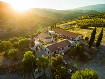 Aerial Archangel Michael monastery, Monagri. Aerial bird`s eye view of Holy monastery of Archangel Michael Archangelou Michail in Monagri village, Limassol royalty free stock images