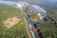 Aerial bird's-eye view panorama of Iguazu Falls from above, from a helicopter. Border of Brazil and Argentina. National park. stock image