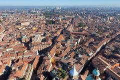 Aerial bird view from Asinelli Tower on Bologna Royalty Free Stock Images