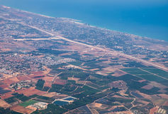 Aerial bird view on Israel Central Districts and Mediterranean. Aerial view on Israel Central Districts and Mediterranean sea Royalty Free Stock Photo