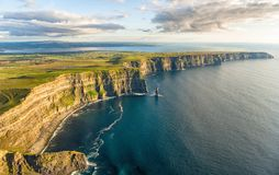 Free Aerial Birds Eye Drone View From The World Famous Cliffs Of Moher In County Clare Ireland. Scenic Irish Rural Countryside Nature Royalty Free Stock Images - 100183169