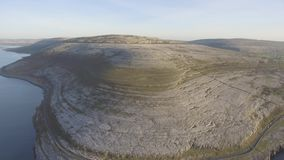 Aerial birds eye view of the burren national park. scenic tourism landscape for Unesco World Heritage site and global geopark stock video footage