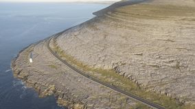 Aerial birds eye view of the burren national park. scenic tourism landscape for Unesco World Heritage site and global geopark stock video