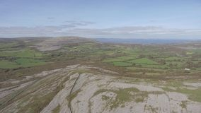 Aerial birds eye view of the burren national park. scenic tourism landscape for Unesco World Heritage site and global geopark stock footage
