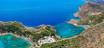 Aerial birds eye view drone photo Anthony Quinn and Ladiko bay on Rhodes island, Dodecanese, Greece. Panorama with nice lagoon and stock image