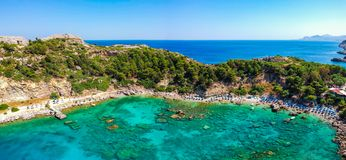 Aerial birds eye view drone photo Anthony Quinn and Ladiko bay on Rhodes island, Dodecanese, Greece. Panorama with nice lagoon and stock photography