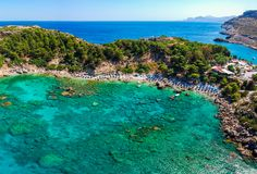 Aerial birds eye view drone photo Anthony Quinn and Ladiko bay on Rhodes island, Dodecanese, Greece. Panorama with nice lagoon and stock photo