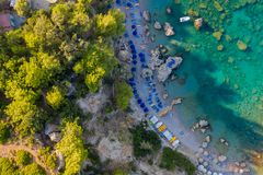 Free Aerial Birds Eye View Drone Photo Anthony Quinn Near Ladiko Bay On Rhodes Island, Dodecanese, Greece. Panorama With Nice Lagoon Royalty Free Stock Photos - 164783808
