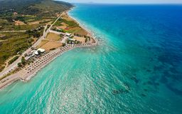 Aerial birds eye view drone photo beach on Rhodes island, Dodecanese, Greece. Panorama with nice lagoon and clear blue water. Famous tourist destination in royalty free stock images