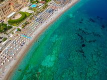 Aerial birds eye view drone photo of Elli beach on Rhodes city island, Dodecanese, Greece. Panorama with nice sand, lagoon and. Clear blue water. Famous tourist royalty free stock photo