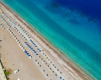 Aerial birds eye view drone photo of Elli beach on Rhodes city island, Dodecanese, Greece. Panorama with nice sand, lagoon and. Clear blue water. Famous tourist royalty free stock image