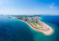 Aerial birds eye view drone photo of Elli beach on Rhodes city island, Dodecanese, Greece. Panorama with nice sand, lagoon and. Clear blue water. Famous tourist stock photos