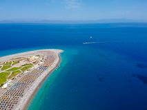 Aerial birds eye view drone photo of Elli beach on Rhodes city island, Dodecanese, Greece. Panorama with nice sand, lagoon and. Clear blue water. Famous tourist royalty free stock photos