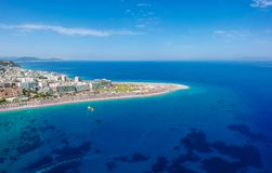 Aerial birds eye view drone photo of Elli beach on Rhodes city island, Dodecanese, Greece. Panorama with nice sand, lagoon and. Clear blue water. Famous tourist royalty free stock images
