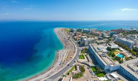 Aerial birds eye view drone photo of Elli beach on Rhodes city island, Dodecanese, Greece. Panorama with nice sand, lagoon and. Clear blue water. Famous tourist stock photo
