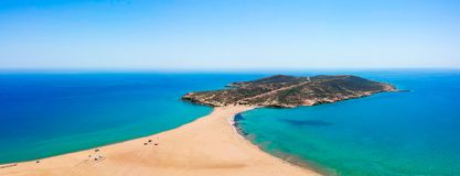 Free Aerial Birds Eye View Drone Photo Prasonisi On Rhodes Island, Dodecanese, Greece. Panorama With Nice Lagoon, Sand Beach And Clear Stock Photography - 147664152