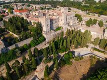 Aerial birds eye view drone photo Rhodes city island, Dodecanese, Greece. Panorama with ancient old fortress and Palace of the royalty free stock images
