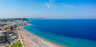 Aerial birds eye view drone photo of Rhodes city island, Dodecanese, Greece. Panorama with nice sand beach, lagoon and clear blue stock images