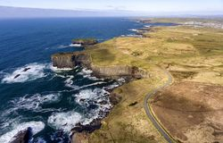 Free Aerial Birds Eye View Loop Head Peninsula Landscape, Along The Wild Atlantic Way In West Clare Ireland Stock Images - 144036754