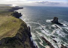 Aerial birds eye view Loop Head Peninsula landscape, along the wild atlantic way in West Clare Ireland stock images